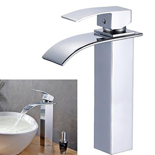 Auralum® Chrom Bad Wasserhahn Einhebel Wasserfall Einhandmischer Spültischarmaturen Waschtisch waschtischarmatur Armatur Badezimmer