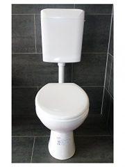 WC SET Komplettset Stand-WC Tiefspüler mit WC-Sitz und Aufputz Spülkasten von WISA alpinweiß