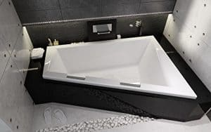 Eckige Acryl Badewanne Eckbadewanne RIHO Doppio 180x130 cm Links mit 2x Chrom Handgriffe und Füße
