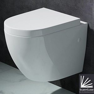 Edle Design Toilette / Hänge WC Aachen376, mit Silent Close Absenkautomatik,