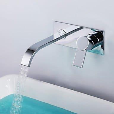 Shengbaier zeitgenössische verchromt Messing einzigen Handgriff zwei Löcher Wand Waschbecken Wasserhahn