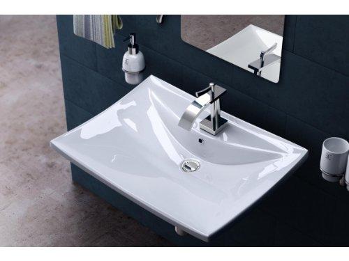 BTH: 60x44x16 cm Design Aufsatzwaschbecken / Hängewaschbecken Brüssel709, aus Keramik, Waschtisch, Waschbecken, Waschtisch,