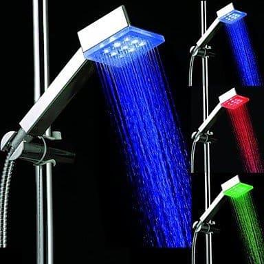 Platz 7 Farben LED Light Top-Spray Duschkopf Badezimmer mit Dusch Chrome Coated