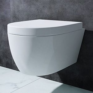 BTH: 35,5x48x25 cmDesign Hänge-WC Aachen106, aus weißer Keramik, Toilettensitz mit Absenkautomatik