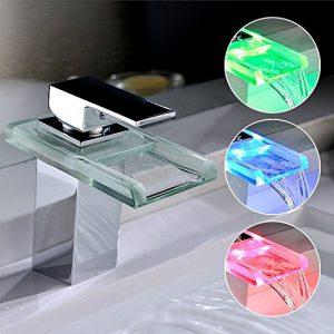 Homelody® LED RGB Wasserfall Armatur Wasserhahn Waschbeckenarmatur Einhebelmischer Waschbatterie Bad Waschtischarmatur Mischbatterie Badarmatur für Badezimmer