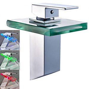 Auralum® RGB LED Wasserfall Waschtisch Armatur Wasserhahn Einhebel Einhandmischer Chrom für Küche Bad