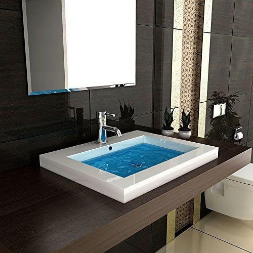 Modern Badezimmer Hochglanz Waschbecken Handwaschbecken aus Mineralguss 60 cm Breit Gäste WC