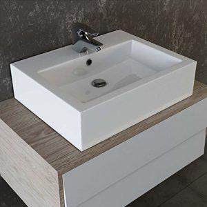 VILSTEIN© Keramik Waschbecken Aufsatz-Waschbecken Hängewaschbecken Waschtisch rechteckig eckig 58 cm