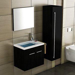 Waschbecken mit Unterschrank / Schwarz Badmöbel / Waschtisch / Gäste-WC / Waschplätz / Unterschrank / Badezimmer / Handwaschbecken
