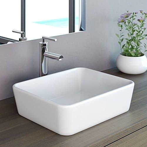 NEG Waschbecken Uno32A (eckig), Aufsatz-Waschschale/Waschtisch (weiß) mit schmalem Rand und Nano-Beschichtung