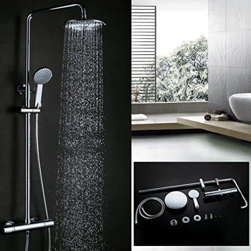 Kinse® 8 Zoll Überkopf-Brauseset Duschsystem Duschstange Duschkopf Regendusche Regenduschkopf mit Brausethermostat inkl. Handbrause und Regenbrause