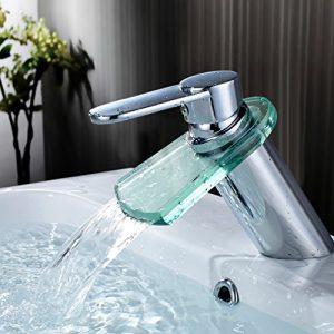 Auralum® 1er Wasserhahn Chrom Armatur Einhebel Wasserfall Einhandmischer Waschtischarmatur