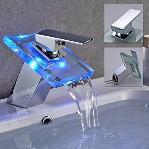 Auralum® LED RGB Einhebelmischer Wasserfall Wasserhahn Waschtischarmatur Waschbecken Bad Armaturen Typ A