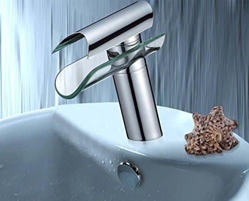Stilvolle Glas Wasserfall Armatur   Wasserhahn Mit Design   Einhebelmischer Neu