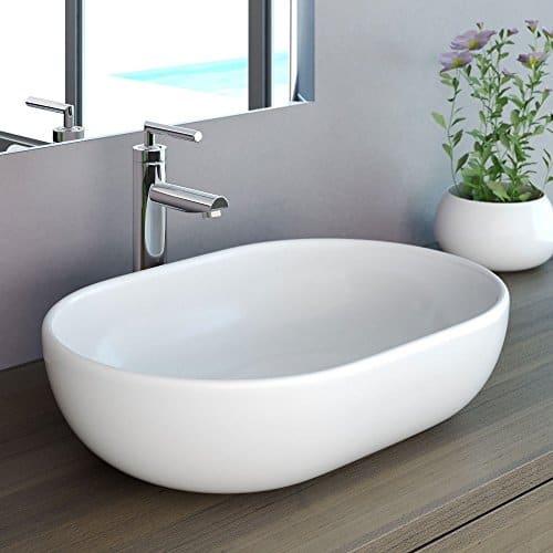 NEG Waschbecken Uno34A (oval), Aufsatz-Waschschale/Waschtisch (weiß) mit hohem Rand und Nano-Beschichtung