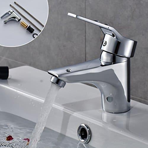 Auralum® Design Chrom Wasserhahn Armatur Einhebel Einhandmischer Waschtischarmatur Badezimmer Armaturen