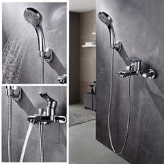 Auralum® Chrom Badewanne Wasserhahn Armatur Mischbatterie Wasserfall Wandhalterung mit Handbrause(2 Wassertyp) für Badezimmer