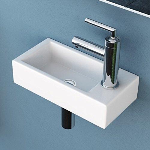 NEG Hänge-Waschbecken Uno41H (Armaturloch rechts), Waschschale/Waschtisch (weiß) mit hohem Rand und Nano-Beschichtung